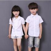 男童白襯衫短袖童裝純棉男孩純白色襯衣  603-178