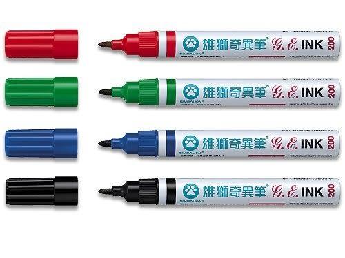 【雄獅 SIMBALION】奇異筆(No.200) 溶劑性←油性筆 白板筆 油性奇異筆 油性 速乾 筆