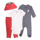 Carter s 新生兒套裝 包屁衣+兔裝+長褲+帽子四件組紅 女寶寶【CA126G132】