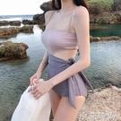 泳衣女夏韓國ins仙女范甜美遮肚顯瘦拼色吊帶連身三角度假泳裝 小艾新品