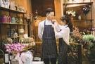 J024》黑白條紋時尚成人圍裙 棉麻布藝可調節肩帶 工作服 咖啡廳 糕點 廚房 工作圍裙