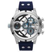 POLICE 機械禁區時尚腕錶-藍色x鋼色
