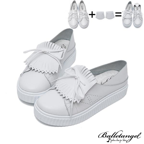 休閒鞋 韓妞必敗3way真皮厚底松糕鞋(白)*BalletAngel【18-726w】【現貨】