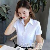 女襯衣韓棉粉色襯衫細斜條紋長袖職業V領修身短袖藍白工作服正裝『小淇嚴選』