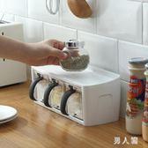 創意廚房鹽糖味精調料盒北歐多功能調料置物架家用帶蓋調味罐組合套裝 PA6998『男人範』