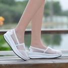 搖搖鞋 布鞋女夏季網面透氣媽媽搖搖鞋鏤空厚底一腳蹬懶人鞋子-Ballet朵朵