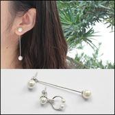鑲鑚珍珠不對稱耳環★ifairies【63722】
