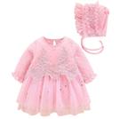新年寶寶拜年服【HA0010】寶寶三層棉大紅連身裙 嬰兒 連身衣 裙裝 寶寶服 新生兒服 (70-80碼)