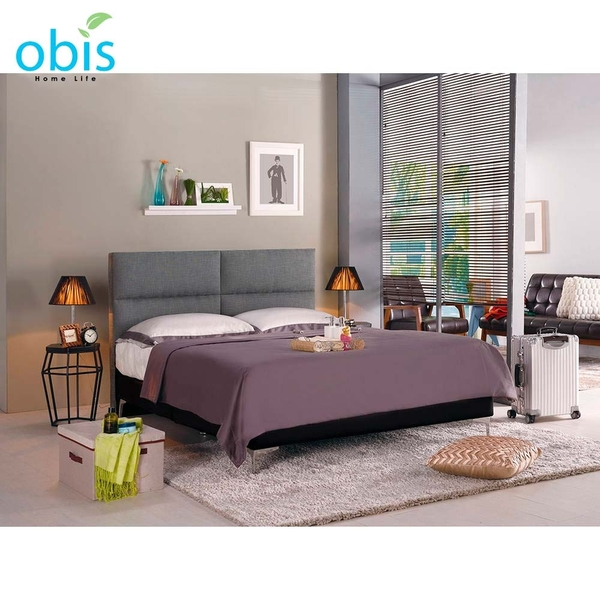 OB003-安蒂5尺雙人床(灰色布)(19CM/658-2)【DD House】