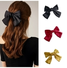 韓版紅色大蝴蝶結髮夾彈簧夾少女學生氣質頭飾日系可愛後腦勺頂夾 88612