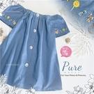 色彩電繡牛仔棉方領傘狀短袖上衣(310528)【水娃娃時尚童裝】