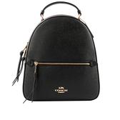 【COACH】PVC拚十字紋皮革口袋後背包(咖啡/黑色) F76622 IMAA8