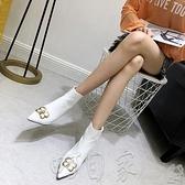 高跟靴秋冬新款BB字母扣尖頭高跟短靴及踝靴尖頭細跟女靴531-2 現貨 町目家