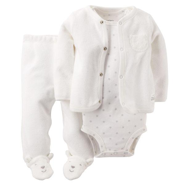 【美國Carter's】套裝3件組- 長袖外套+小星星短袖包屁衣+連腳褲 121D584