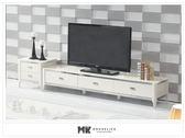 【MK億騰傢俱】ES383-04寶格麗麥白光玻璃電視櫃(不含小邊櫃)