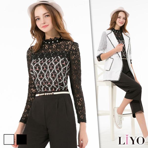 LIYO理優立領印花拼接蕾絲上衣E635016