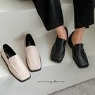 MIUSTAR 方頭車線造型穆勒皮鞋(共2色,35-39)【NH2359】預購