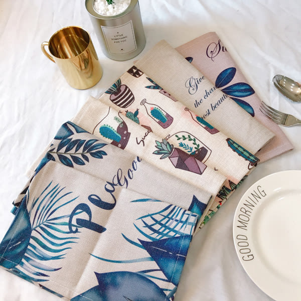 TOOKI & CO【Z438078】樂活風自然植栽花草圖案棉麻餐墊/桌墊/桌巾墊/拍照裝飾桌布-Leap