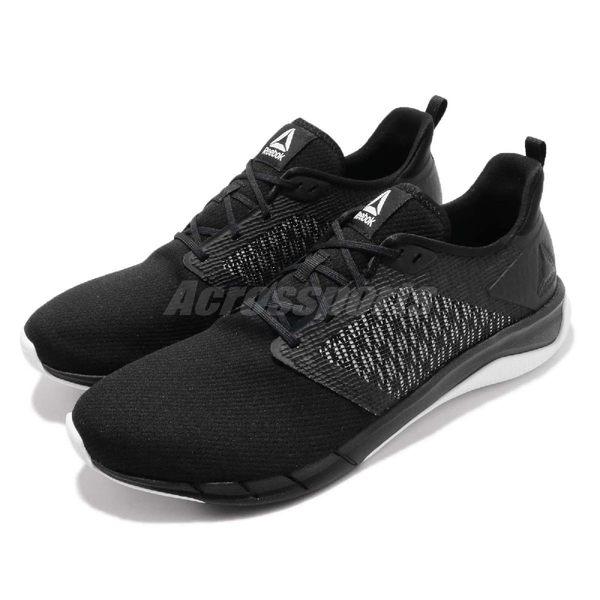 Reebok 慢跑鞋 Print Run 3.0 黑 白 編織 輕量舒適 路跑專門 基本款 男鞋【PUMP306】 CN4656