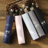簡約小清新超強防紫外線 遮陽傘黑膠防紫外線晴雨兩用太陽傘雨傘女wy