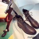PAPORA個性牛仔風短靴KYK336黑/棕