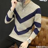 長袖T恤秋冬新款長袖毛衣男圓領t恤韓版修身打底針織衫男裝潮上毛線衣服 芭蕾朵朵