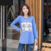 中大尺碼上衣 圓領針織藍色貓咪印花寬鬆顯瘦長袖上衣 XL-5XL #sn17120 ❤卡樂❤