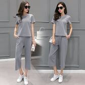 FINDSENSE G5 韓國時尚 純棉 圓領 短袖 休閒套裝 顯瘦 薄款 短袖 T恤 七分褲 兩件套