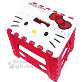 〔小禮堂〕Hello Kitty 攜帶式塑膠折疊椅《M.紅.大臉》矮凳.板凳.野餐椅 4713052-38450