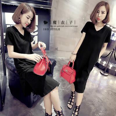 【QV0831】魔衣子-純色顯瘦V領側開叉短袖連身裙