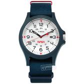 TIMEX 天美時 / TXTW2T92600 / Acadia x NASA 聯名 INDIGLO專利冷光照明 日期 尼龍帆布手錶 白x藍 40mm