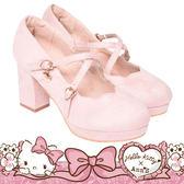 HELLO KITTY X Ann'S LADY美人交叉帶單色刺繡花瓣娃娃粗跟鞋-粉