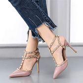 高跟鞋白色包頭鉚釘高跟鞋女細跟尖頭春夏季一字扣帶柳丁涼鞋igo 夏洛特