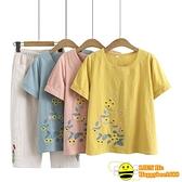 兩件式棉麻褲裝 媽媽洋氣時尚兩件套夏中年婦女大碼棉麻T恤上衣休閒運動短袖套裝【happybee】
