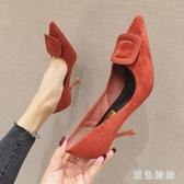 高跟鞋女2020新款時尚百搭方扣小清新仙女細跟尖頭單鞋 LF6445『黑色妹妹』