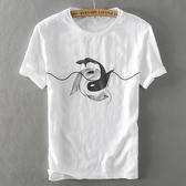 亞麻T恤-棉麻雙魚印花圓領短袖男上衣2色73xf11[巴黎精品]