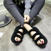 厚底涼鞋韓版魔術貼鬆糕百搭涼鞋-3色
