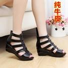 魚口鞋 夏季真皮坡跟涼鞋舒適防滑羅馬平底女鞋中年媽媽魚嘴女鞋中跟交換禮物