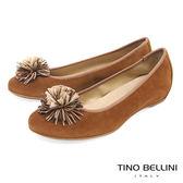 Tino Bellini 西班牙進口典雅繁花內增高娃娃鞋_ 棕 A83022 歐洲進口款