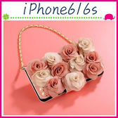 Apple iPhone6/6s 4.7吋 Plus 5.5吋 淑女風皮套 雙色粉玫瑰花保護殼 側翻手機殼 可插卡保護套 磁扣手機套
