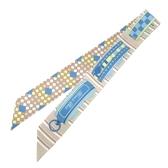 HERMES 愛馬仕 藍X棕環狀圖樣絲巾 Colliers de Chiens Remix Twilly Scarf BRAND OFF