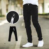 長褲 層次破壞抽鬚抓破合身黑色牛仔褲【NB0283J】