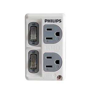 飛利浦新安規節能開關2開2電腦壁插  SPB1421 白色
