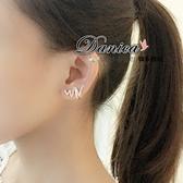 無耳洞耳環 現貨 韓國 氣質 甜美 流線 波浪 不對稱 水鑽耳環 S92449 Danica 韓系飾品 韓國連線