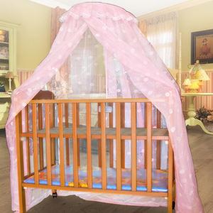 【凱蕾絲帝】嬰兒床架專用針織嬰兒蚊帳-粉色