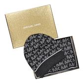 MICHAEL KORS 經典LOGO滿版圍巾毛帽禮盒組 灰色 538163-022