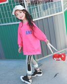 女童大學T2018新款韓版秋裝男女童寬鬆中長款上衣中大兒童洋氣大學T  無糖工作室