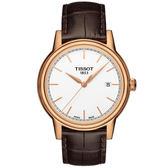 [結帳再折]TISSOT  T-Classic 經典大三針時尚腕錶(玫瑰金-39mm-T0854103601100)