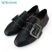 【Bo Derek 】鉚釘飾環樂福鞋-黑色