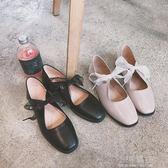 2018夏季新款單鞋女方頭淺口低跟平底鞋蝴蝶結芭蕾鞋復古休閒皮鞋『小淇嚴選』